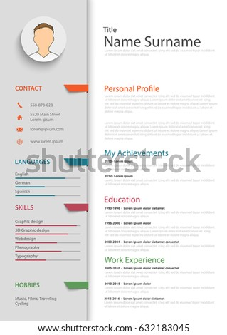 professional resume cv colored bookmarks template ベクター画像素材