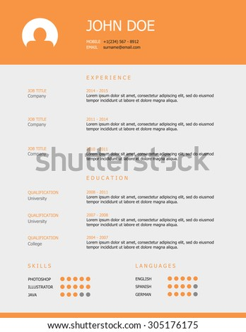 Professional Simple Styled Resume Template Design Stock Vector ...