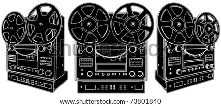 Professional Stereo Audio Tape Deck Recorder Vector 01 - stock vector