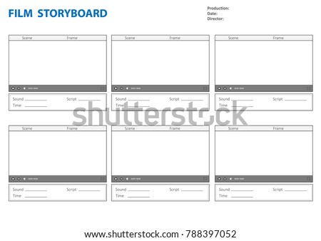 Professional Storyboard Storyboard Template Film Story Stock Photo