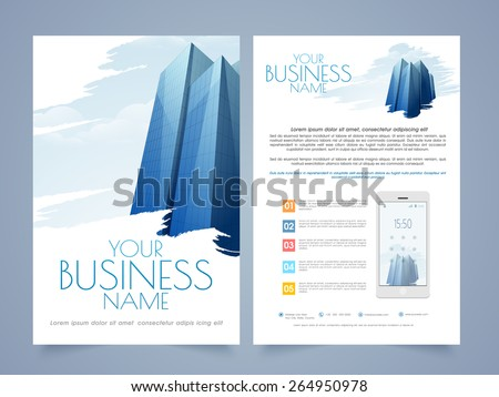 Professional Two Page Flyertemplate Brochure Design Stock Vector - Two page brochure template