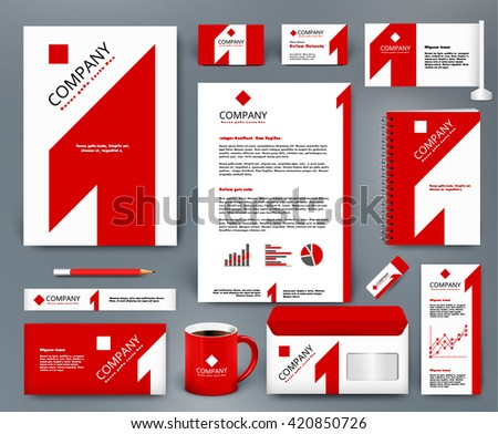 Professional universal branding design kit with red number one on white backdrop. Corporate identity template. Business stationery mockup. Editable vector illustration: folder, mug, etc. - stock vector