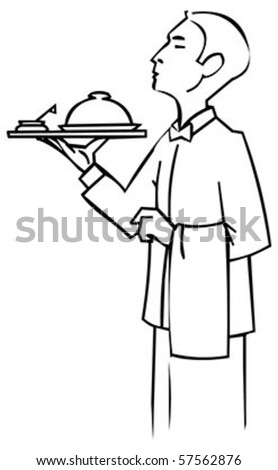 professional waiter standing and holding a  tray with catering dome,vector illustration - stock vector
