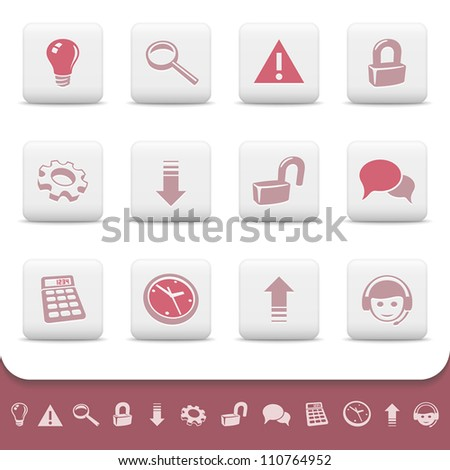Professional web icons on white buttons. Vector set 2. Light bulb, magnifier, warning, padlock, gear, arrow, forum, speech bubble, calculator, clock, call center symbols for your website