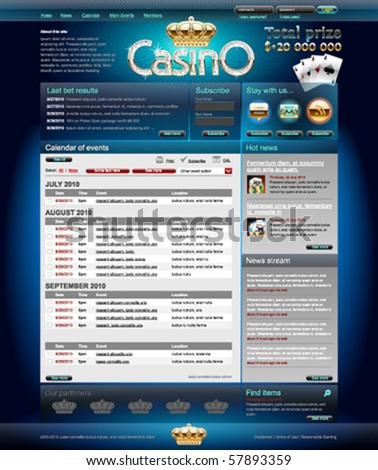 Professional web layout for casino site. Pixels aligned, layered. - stock vector