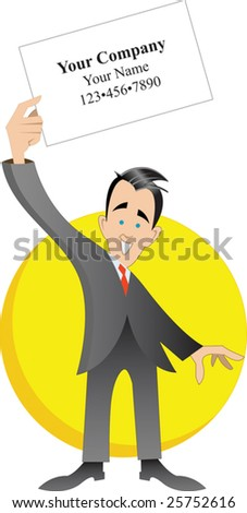 Professional white man holding white sign with yellow background - stock vector