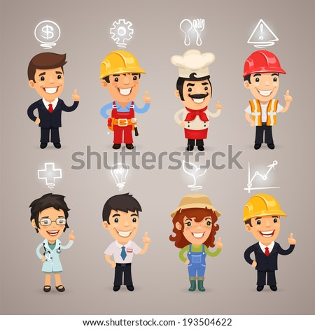 Professions Characters with Icons. In the EPS file, each element is grouped separately. - stock vector