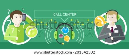 Professions concept of call centre operator with headset and client asks question. In the middle headset and speech bubbles on green background. Client services and communication. Individual approach - stock vector