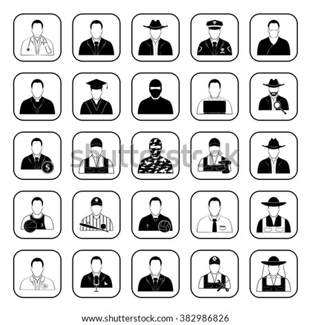 Professions 25 icons set for web and mobile
