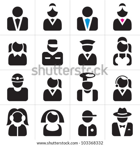 Professions icons set. Occupations symbols collection. - stock vector