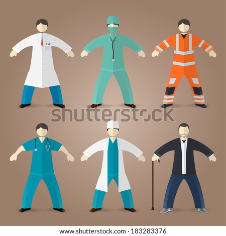 Professions set of medical doctors, male nurse - stock vector
