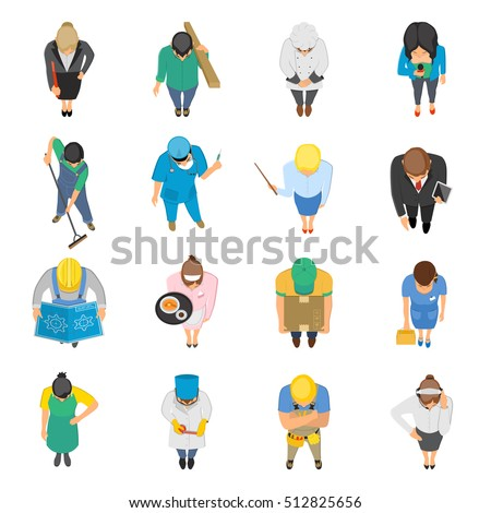 Professions top view isolated colored icons set of waitress doctor teacher nurse janitor plumber isolated vector illustration
