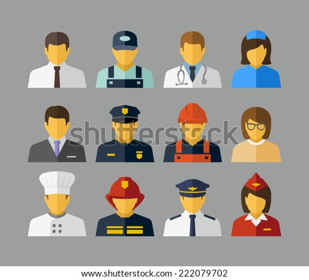 Professions Vector Flat Icons  - stock vector