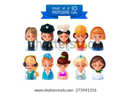 Professions Vector Flat Icons. Set of 10 professions , eps10 vector format. Icons of people   Isolated on white background. female profession. Icons style flat. - stock vector