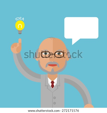 Professor with message bubble - stock vector