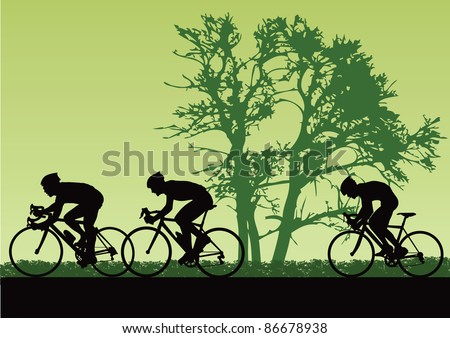 Proffesional cyclists. Vector illustration