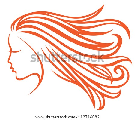 Profile girl with developing hair - stock vector