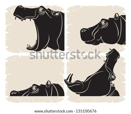 Profile hippopotamus head, vector - stock vector