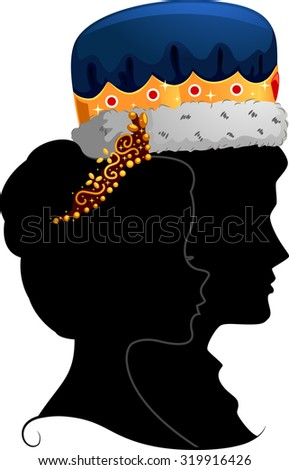 Profile Illustration Featuring the Silhouettes of a King and Queen - stock vector