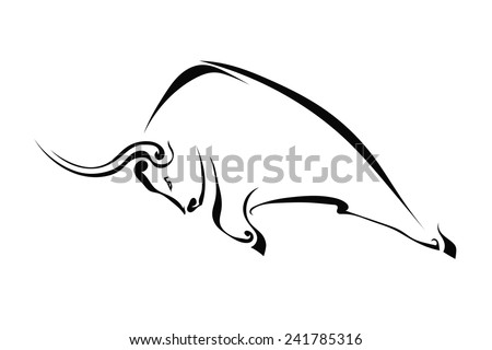 Profile of a bull isolated on a white background. Trademark farm. Vector  illustration. - stock vector