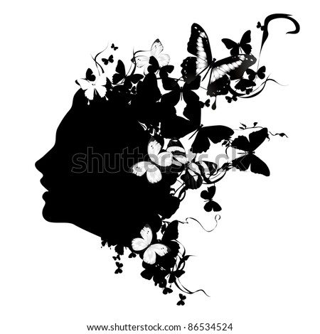 Profile of a girl with butterflies. Black and white vector illustration - stock vector