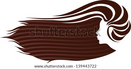 Profile of a girl with luxuriant hair. - stock vector