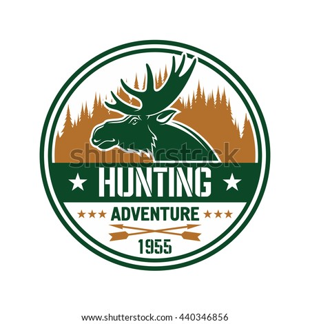 Profile of an elk with large antlers against brown silhouette of forest skyline round badge with caption Hunting Adventure, flanked by stars and crossed arrows. Use as hunting club insignia design - stock vector