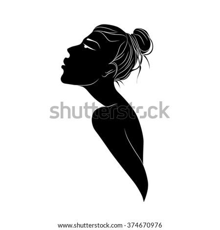 profile of girl - stock vector