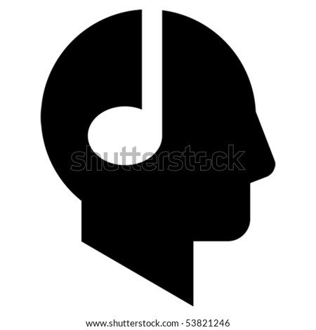 Profile of the man with note-headphones. - stock vector