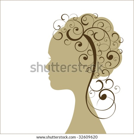 Profile of woman with long curly hair - stock vector
