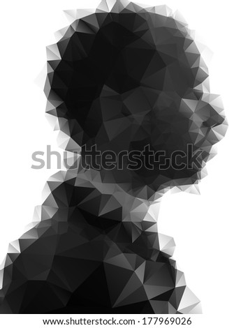 Profile of young man consisted of  triangles. - stock vector