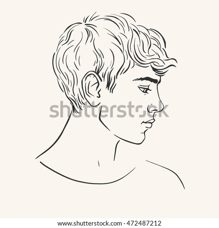 profile young man short curly hair stock vector 472487212