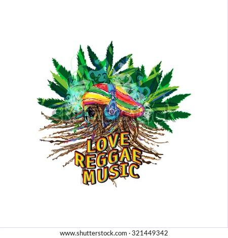 Profile Rastafarian in headphones with dreadlocks on the background of leaves marijuana and smoke - stock vector