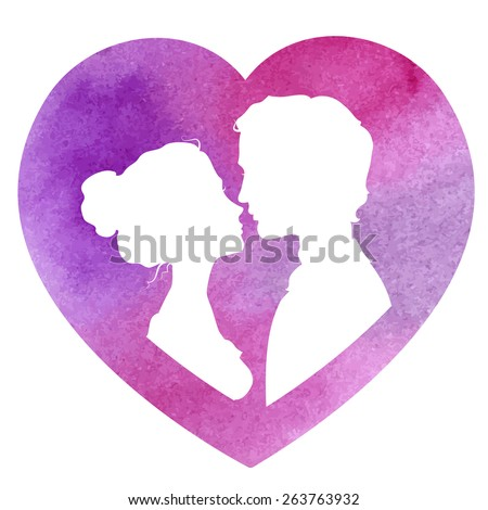Profile silhouettes of man and woman in a heart-shaped frame. Loving couple going to kiss. Watercolor vector illustration - stock vector