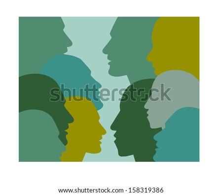 Profile speaking head. Vector illustration. - stock vector