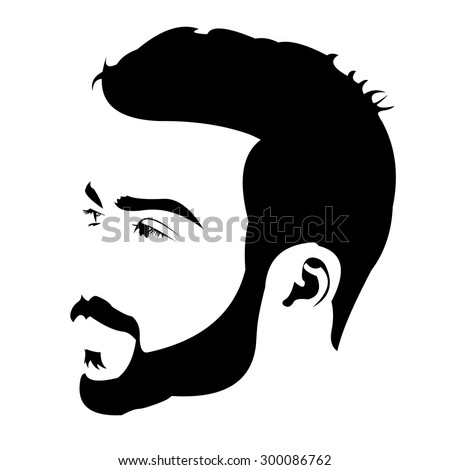 Profile view of young bearded man looking away. Easy editable layered vector illustration.  - stock vector