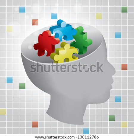 Profiled head of a child with symbolic autism puzzle pieces - stock vector