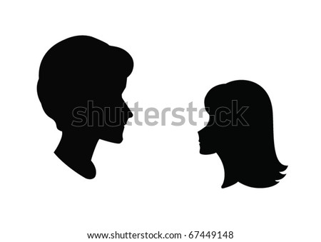 profiles of man and woman - stock vector