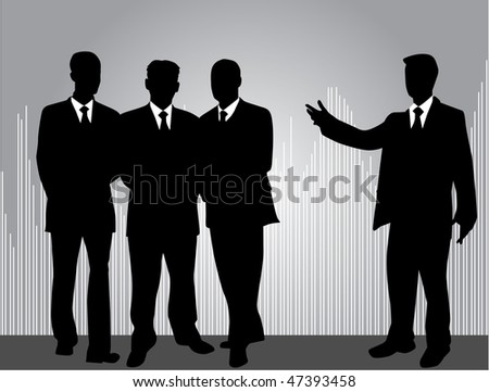 profiles of working people - silver background