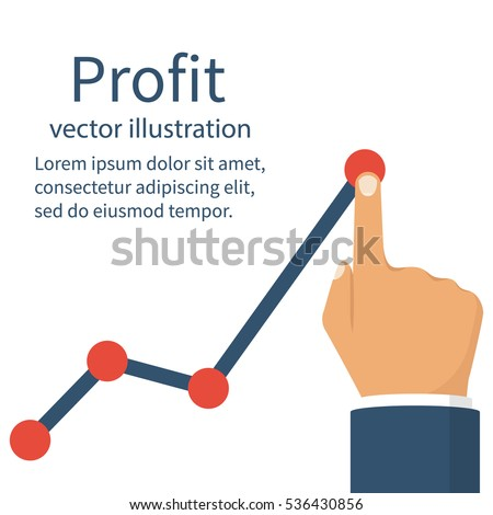 Profit concept, growing business graph. Businessman manages financial growth graph. Template investment. Vector illustration flat design. Finger up holding chart arrow.