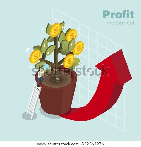 profit investment concept in 3d isometric flat design - stock vector