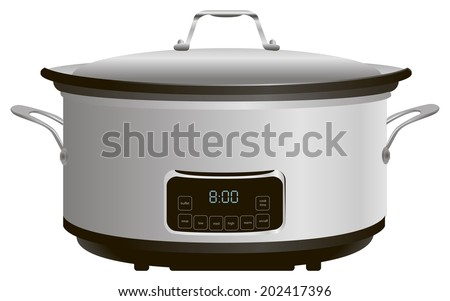 Programmable electric pan for cooking. Vector illustration. - stock vector