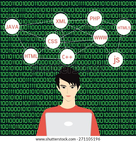 Programmer coding on his laptop with speech bubbles and green binary code background. - stock vector