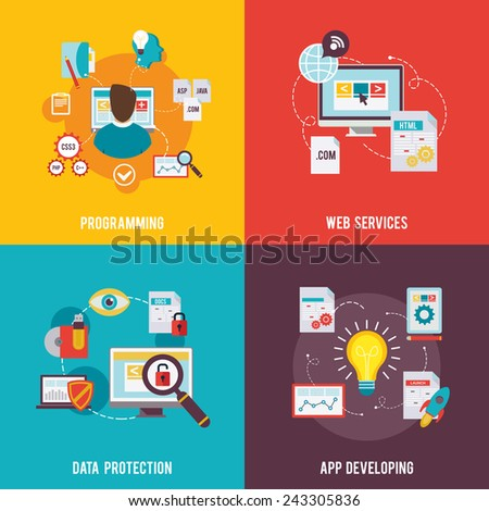 Programmer icon flat set with web services data protection app development isolated vector illustration - stock vector