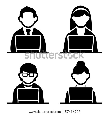 Programmer icons set - stock vector