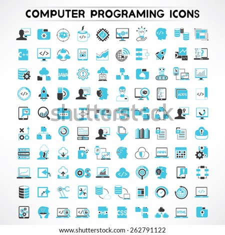 programmer icons set, software developer icons - stock vector