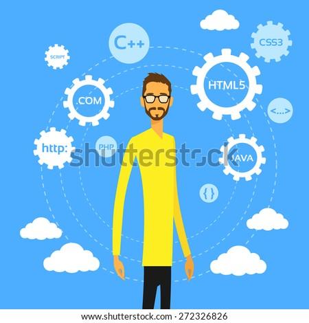Programmer Man Computer Geek Coder Flat Vector Illustration - stock vector