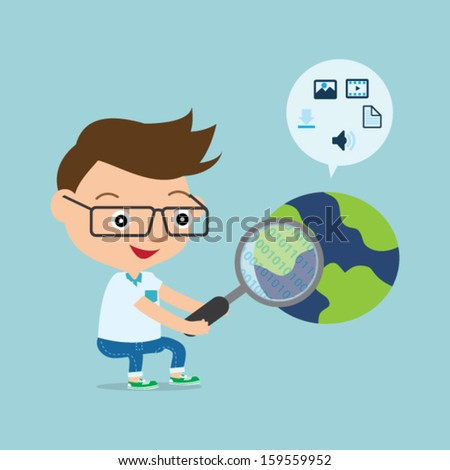 programmer searching on the internet - stock vector