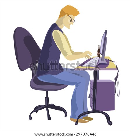 Programmer sitting in front of his computer and working. Cartoon vector flat illustration