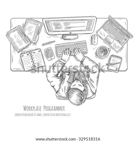 Programmer work place with man at the table top view sketch vector illustration - stock vector